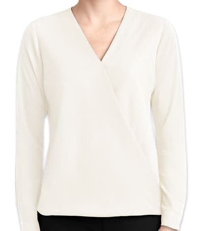 Port Authority Women's Wrap Blouse - Ivory Chiffon