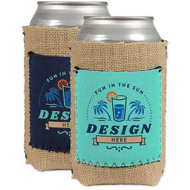 Burlap Can Cooler with Neoprene Pocket