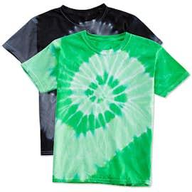 Dyenomite Youth 100% Cotton Two-Tone Spiral Tie-Dye T-shirt