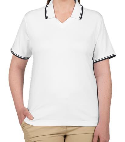 Devon & Jones Women's Tipped Pima Interlock Polo - White / Navy