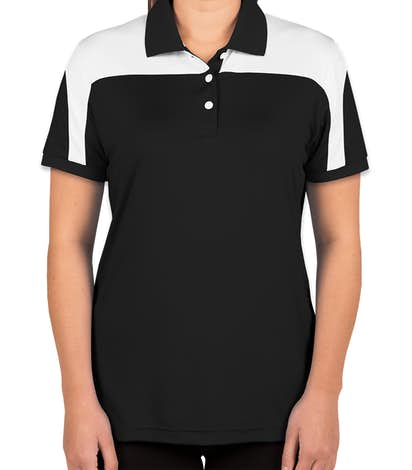 Team 365 Women's Colorblock Performance Polo - Black / White