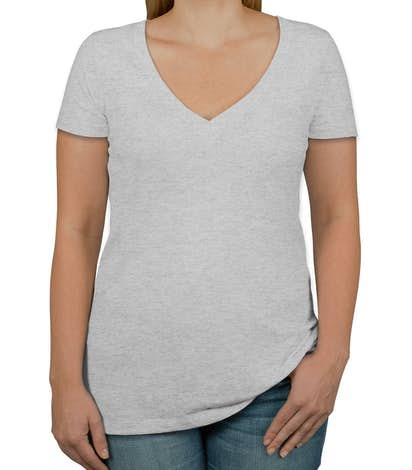 Next Level Juniors Tri-Blend Deep V-Neck T-shirt - Heather White