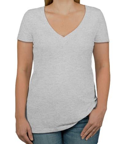 Next Level Women's Slim Fit Tri-Blend Deep V-Neck T-shirt - Heather White