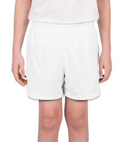 High Five Youth Contrast Performance Soccer Shorts - White / White