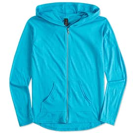 Anvil Women's Tri-Blend Full Zip T-shirt Hoodie