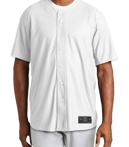 New Era Diamond Era Full Button Baseball Jersey - White
