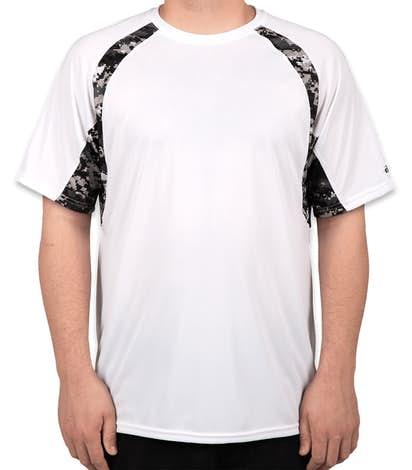 Badger Digital Camo Contrast Performance Shirt - White