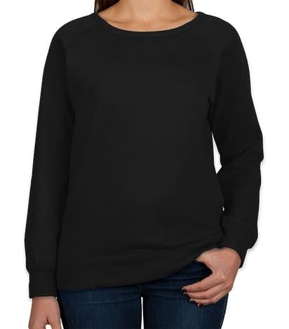 Independent Trading Women's Lightweight Crewneck Sweatshirt - Black