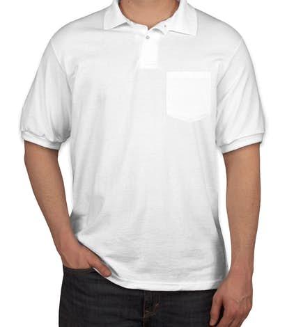 Hanes 50/50 Jersey Pocket Polo - White