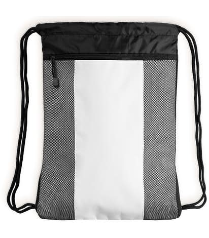 Team 365 Contrast Mesh Drawstring Bag - White