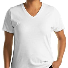 Port & Company Women's Core Cotton V-Neck T-shirt - Color: White
