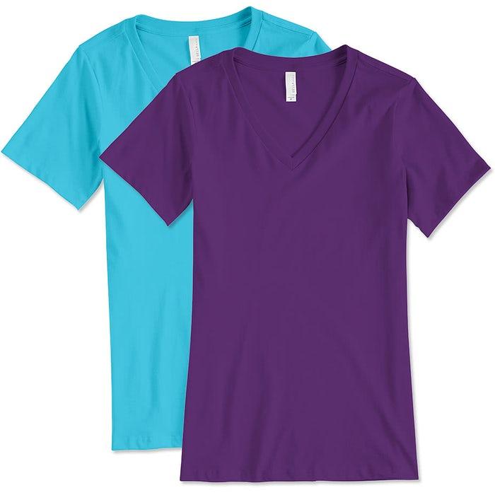 12fa730a954 Custom Bella + Canvas Women s V-Neck T-shirt - Design Women s Short ...