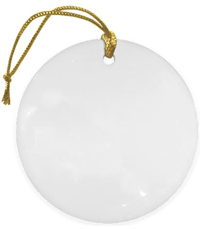 Full Color Round Ceramic Ornament - White