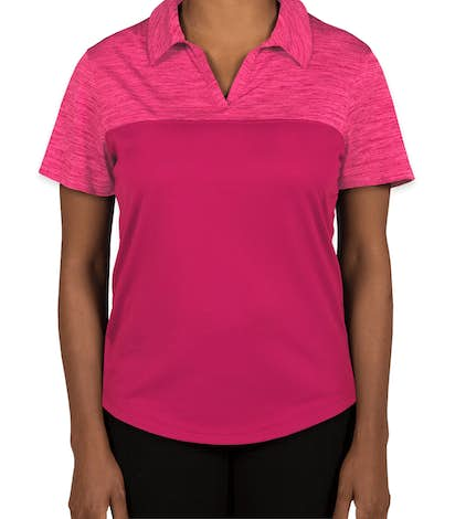 Augusta Women's Tonal Heather Performance Polo - Power Pink