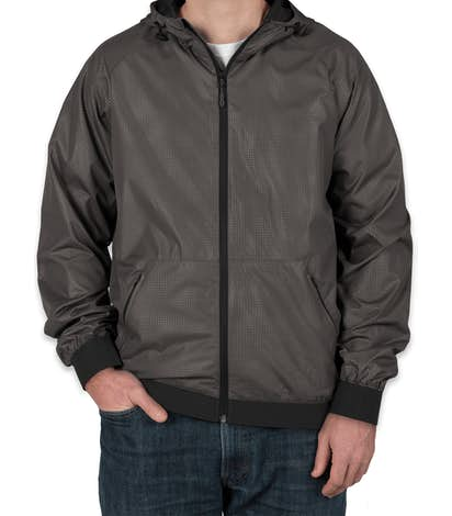 Sport-Tek Embossed Full Zip Hooded Jacket - Graphite / Black