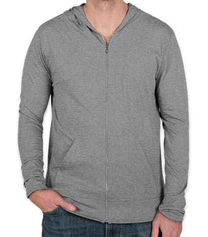 Anvil Tri-Blend Full Zip T-shirt Hoodie - Heather Grey