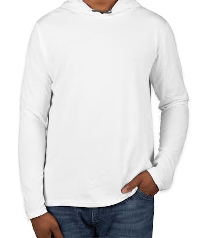 Anvil Hooded Long Sleeve T-shirt - White