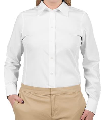 Devon & Jones Women's Solid Dress Shirt - White