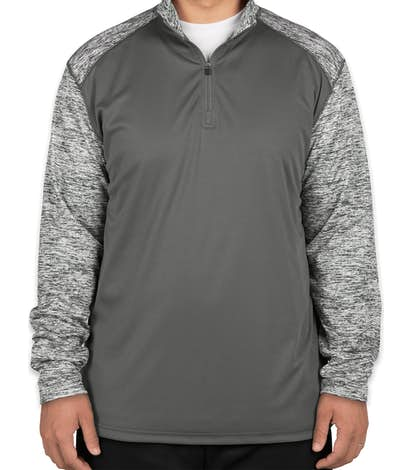 Badger Contrast Melange Quarter Zip Performance Shirt - Graphite / Graphite Blend