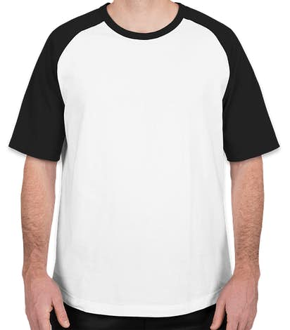 Sport-Tek Short Sleeve Baseball Raglan - White / Black