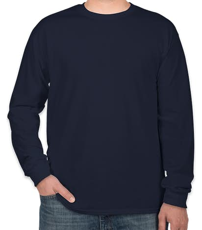 Gildan 100% Cotton Long Sleeve T-shirt - Navy