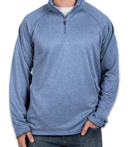 Devon & Jones Heather Quarter Zip Performance Pullover - French Blue Heather