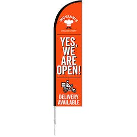 Full Color 8' Single Reverse Portable Half Drop Banner with Hardware Set
