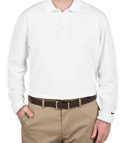 Nike Golf Dri-FIT Tech Long Sleeve Performance Polo - White