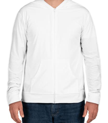 Next Level Sueded Full Zip T-shirt Hoodie - White