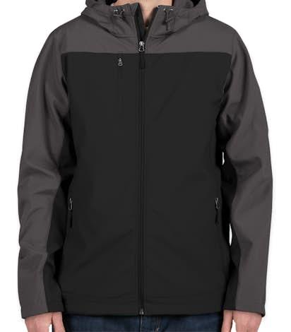 Port Authority Contrast Hooded Soft Shell Jacket - Black / Battleship Grey