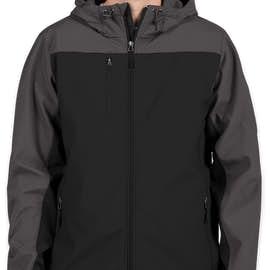 Port Authority Contrast Hooded Soft Shell Jacket - Color: Black / Battleship Grey