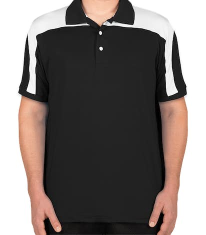 Team 365 Colorblock Performance Polo - Black / White