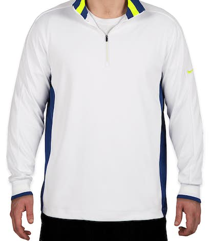 Nike Golf Dri-FIT Half Zip Performance Pullover - White / Deep Royal / Volt