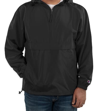 Champion Packable Half Zip Windbreaker Jacket - Black