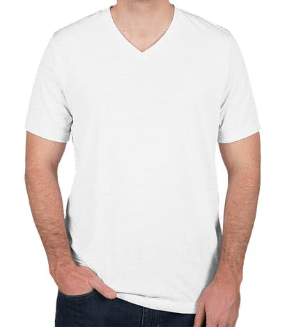 Bella + Canvas Tri-Blend V-Neck T-shirt - Solid White Tri-Blend