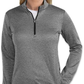 Adidas Women's Brushed Terry Heather Quarter Zip Pullover - Color: Mid Grey Heather / Black