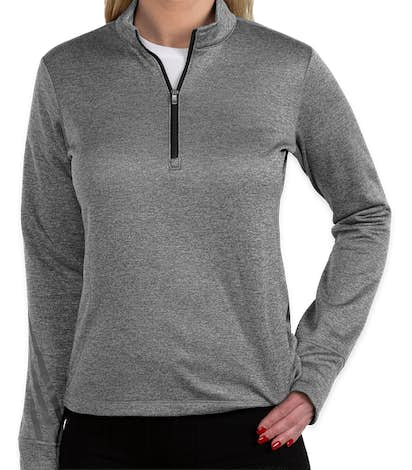Adidas Women's Brushed Terry Heather Quarter Zip Pullover - Mid Grey Heather / Black
