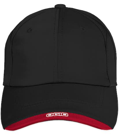 Ogio Contrast Performance Hat - Black / Chili Red