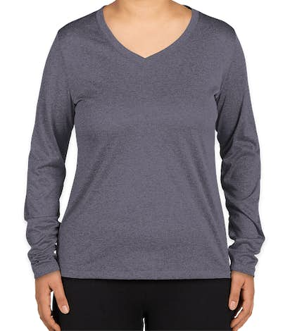 Sport-Tek Women's Heather Contender Long Sleeve V-Neck Performance Shirt - True Navy Heather