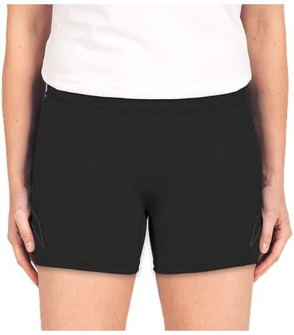 "Augusta Women's 4"" Contrast Compression Shorts - Black / Black"