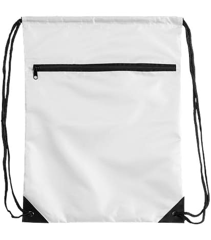 Zipper Drawstring Bag - White