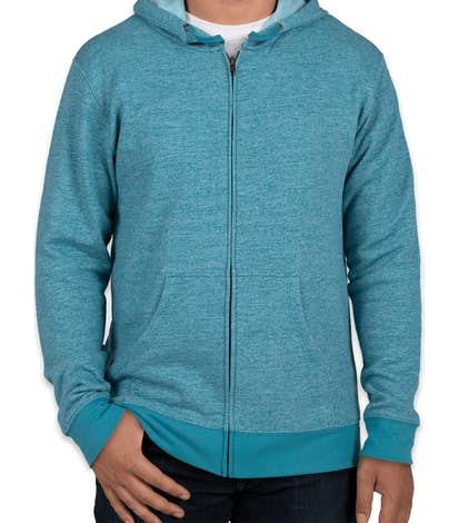 Next Level Melange Zip Hoodie - Turquoise
