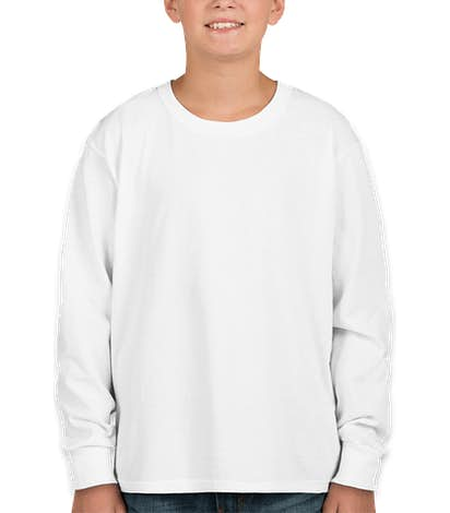 Fruit of the Loom Youth 100% Cotton Long Sleeve T-shirt - White