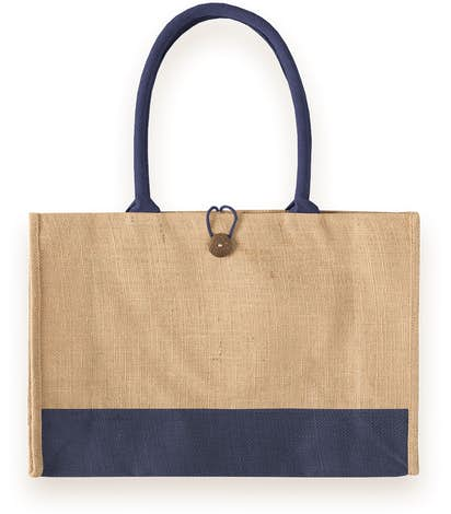Large Jute Box Tote - Natural / Navy