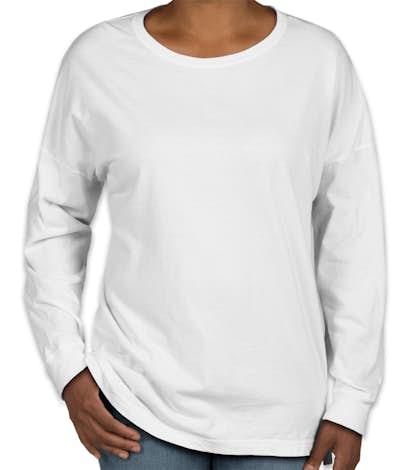 281efb83 Custom Comfort Colors Women's Drop Shoulder Long Sleeve T-Shirt ...