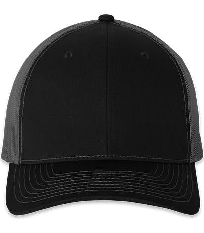 Richardson Snapback Trucker Hat - Black / Charcoal