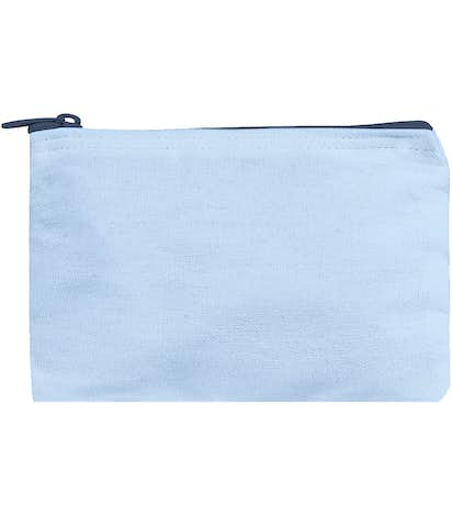 Small Colored Canvas Pouch with Colored Zipper - Powder Puff/ Midnight