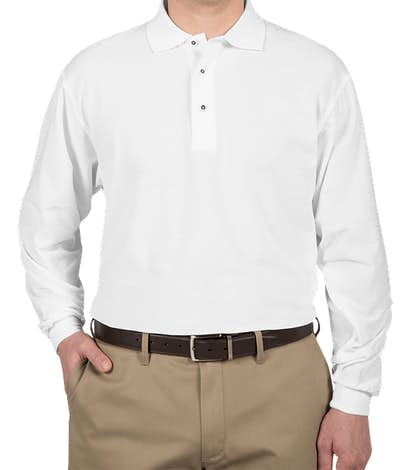 Port Authority Silk Touch Long Sleeve Polo - White