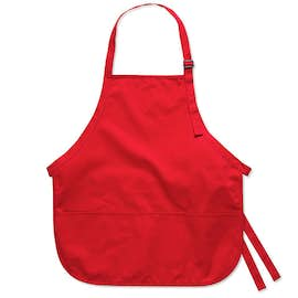 Stain Release Medium Length Apron - Embroidered
