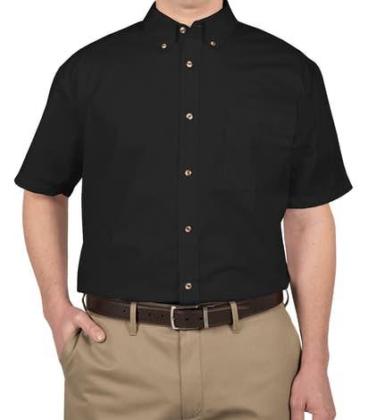 Featherlite Short Sleeve Stain Resistant Twill Shirt - Onyx Black / Stone